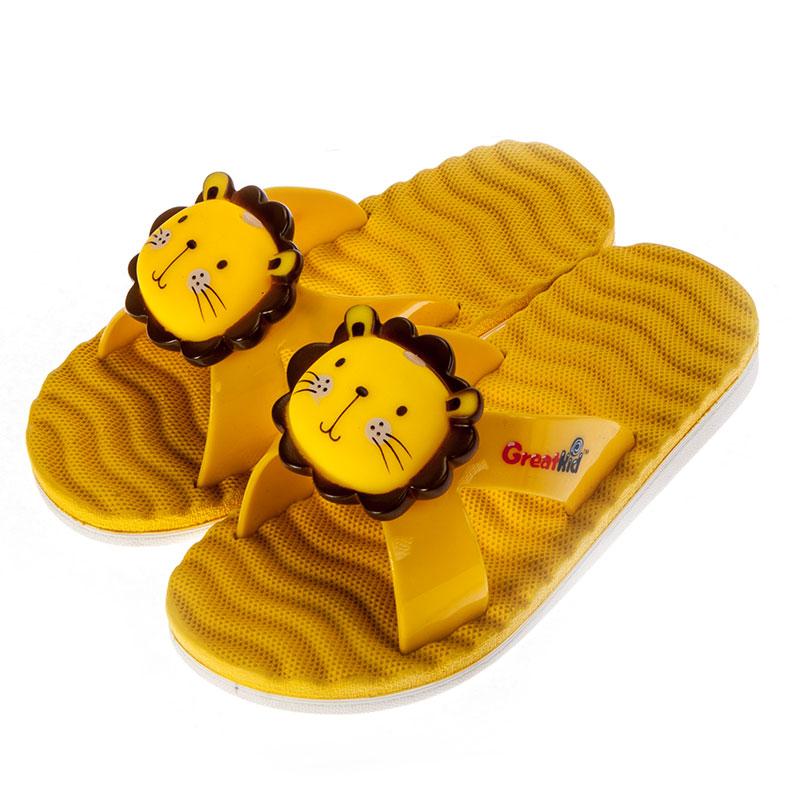 歌瑞凯儿男婴立体狮子拖鞋GK152-043SH黄14cm