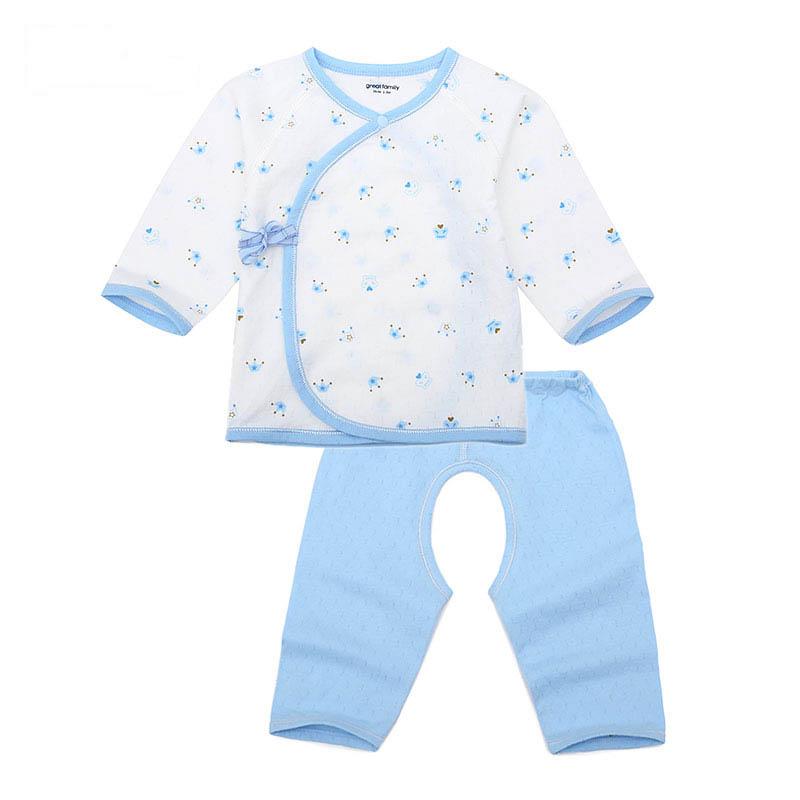歌瑞家夏季A类纯棉男宝宝花色纯棉和短袍套装