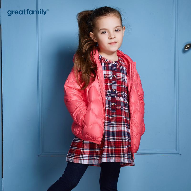 歌瑞家(Greatfamily)A类经典校园女童红色轻薄柔软白鸭绒连帽羽绒服