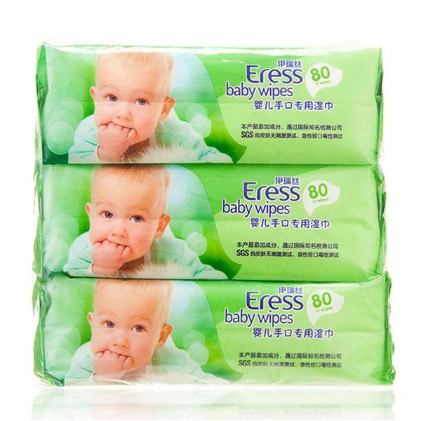 伊瑞丝植物配方婴儿手口湿巾80片*3包