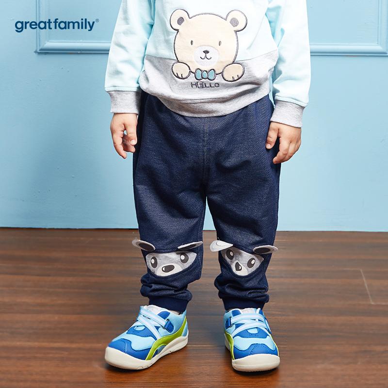 歌瑞家(Greatfamily)A类男宝宝牛仔色纯棉卫裤