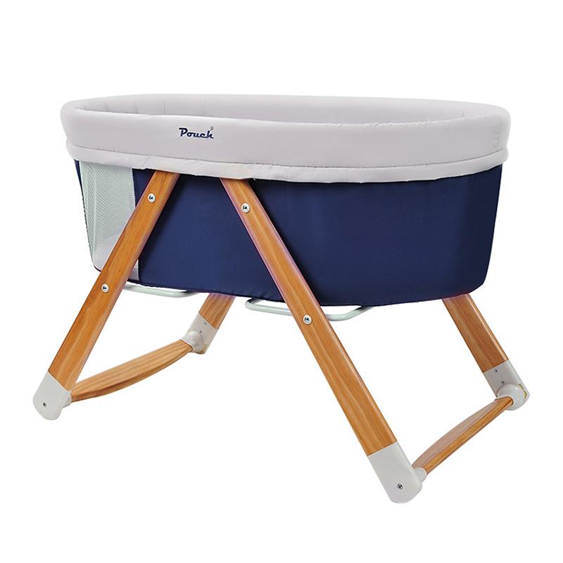 Pouch多功能便携式可折叠无漆摇篮床H26蓝色