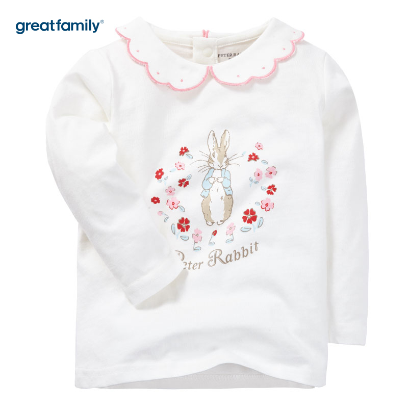 歌瑞家(Greatfamily)比得兔(Peterrabbit)A类女宝宝白色纯棉印花花边领T恤