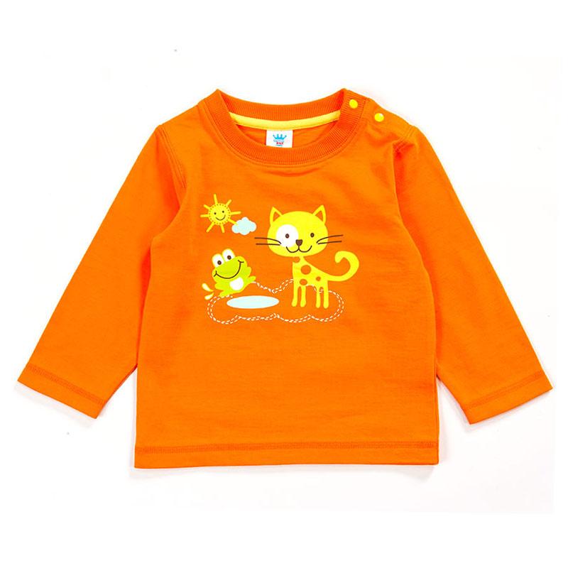 歌瑞贝儿Great Baby(T)--男童橙色针织纯棉百搭卡通T恤