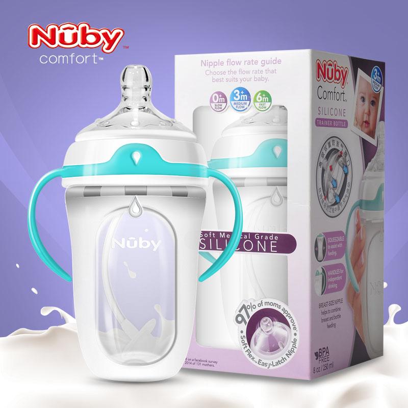 努比nubyComfort带握把训练硅胶奶瓶250m(附360℃重力吸球)l3月以上1支装
