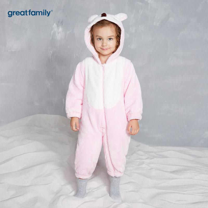 歌瑞家(Greatfamily)A类女宝宝粉色剪毛绒造型连体服