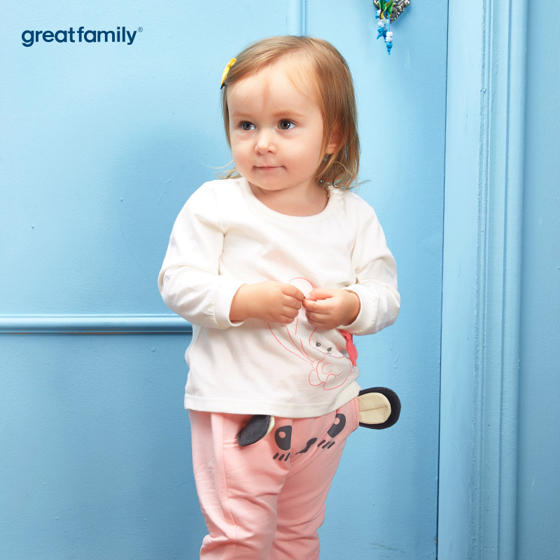 歌瑞家(greatfaimly)A类女白纯棉小熊T恤