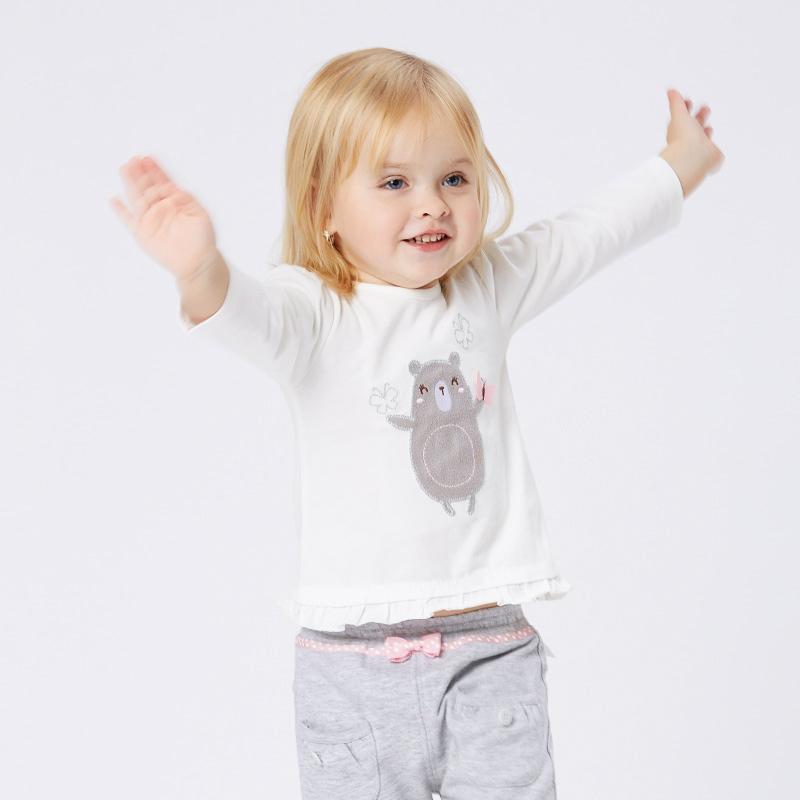 歌瑞家A类白色女婴花边T恤