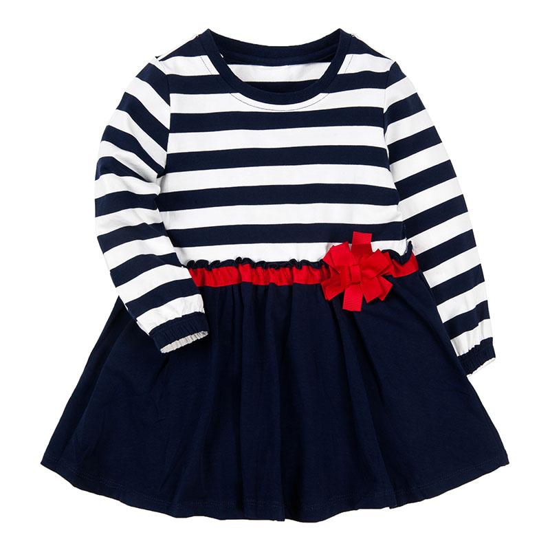 歌瑞凯儿A类女童蓝色条纹连衣裙