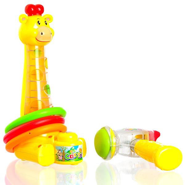 欧锐 长颈鹿敲敲乐 卡通音乐玩具 室内敲打套圈玩具 游戏益智玩具