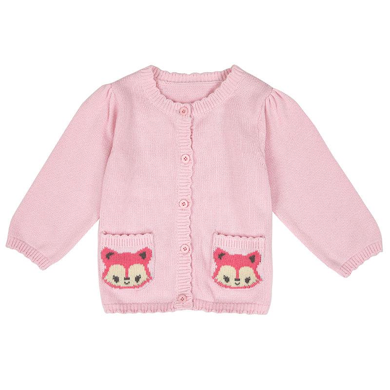 歌瑞家A类女婴粉色纯棉小狐狸开衫毛衣