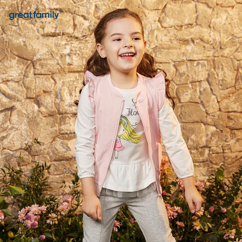 歌瑞凯儿(新)A类可爱精灵粉色女童针织马甲