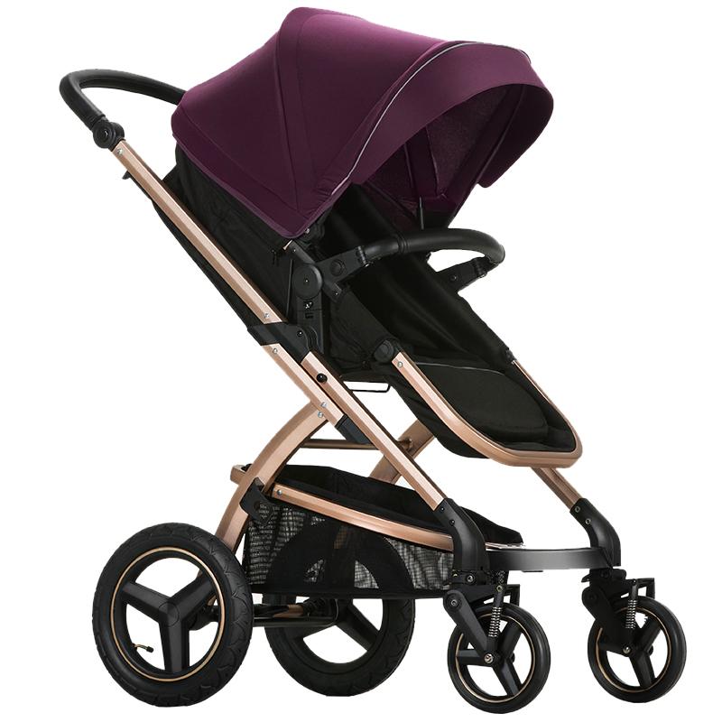 Pouch婴儿车推车轻便高景观可躺可坐避震手推车可折叠宝宝童车 E89  紫黑