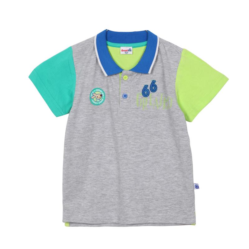 歌瑞凯儿A类男童灰色针织拼色POLO领短袖T恤