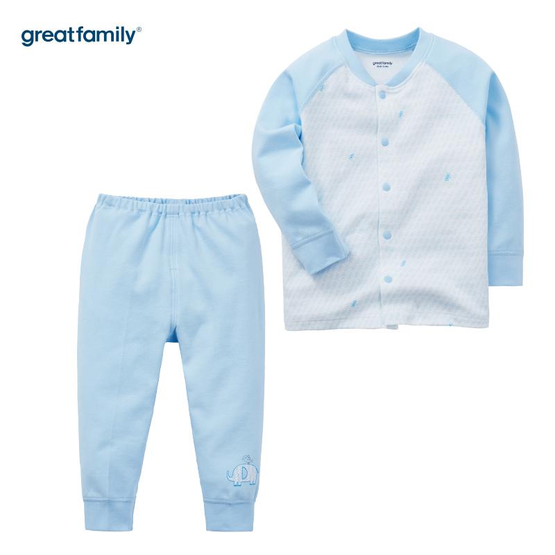 歌瑞家(Greatfamily)A类男宝宝纯棉蓝色内衣/对襟套装