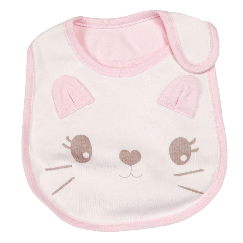 歌瑞家greatfamilygreatfamily粉色卡通小猫围嘴二条装