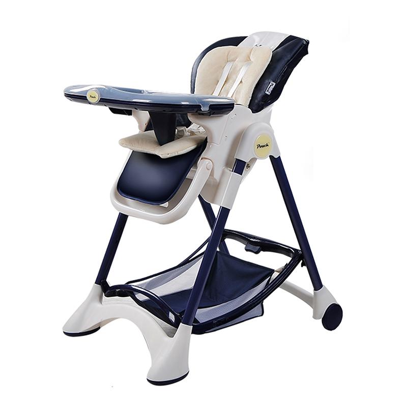 Pouch多功能折叠可坐躺便携式宝宝餐椅K05藏青色