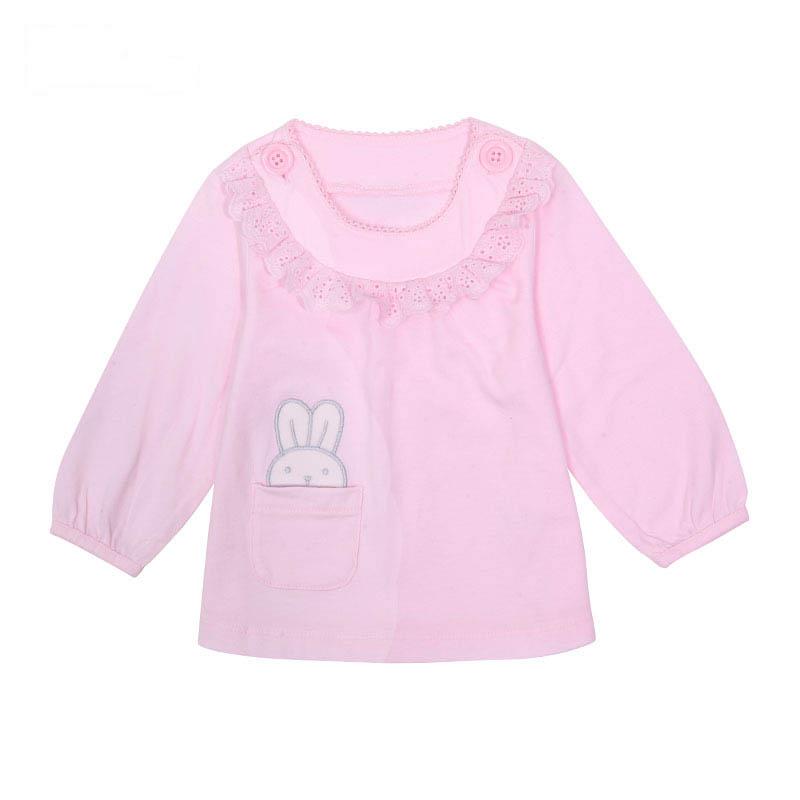 歌瑞家A类女宝宝粉色花边T恤