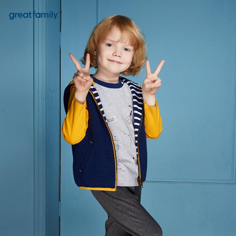 歌瑞家(Greatfamily)A类男童可爱精灵纯棉蓝白条纹两面穿针织马甲