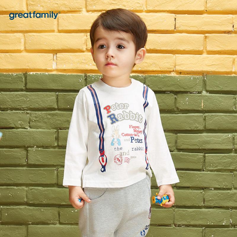 歌瑞家(Greatfamily)比得兔(Peterrabbit)A类男宝宝白色纯棉印花长袖T恤