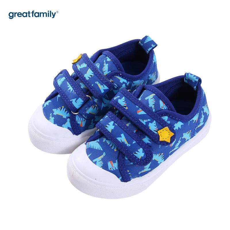 歌瑞家(greatfamily)男婴印花帆布鞋GB181-017SH蓝13.5CM双