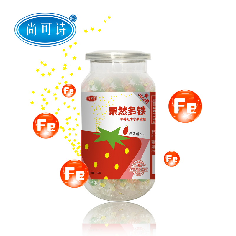 尚可诗--果然多铁水果软糖(草莓红枣)150g/听