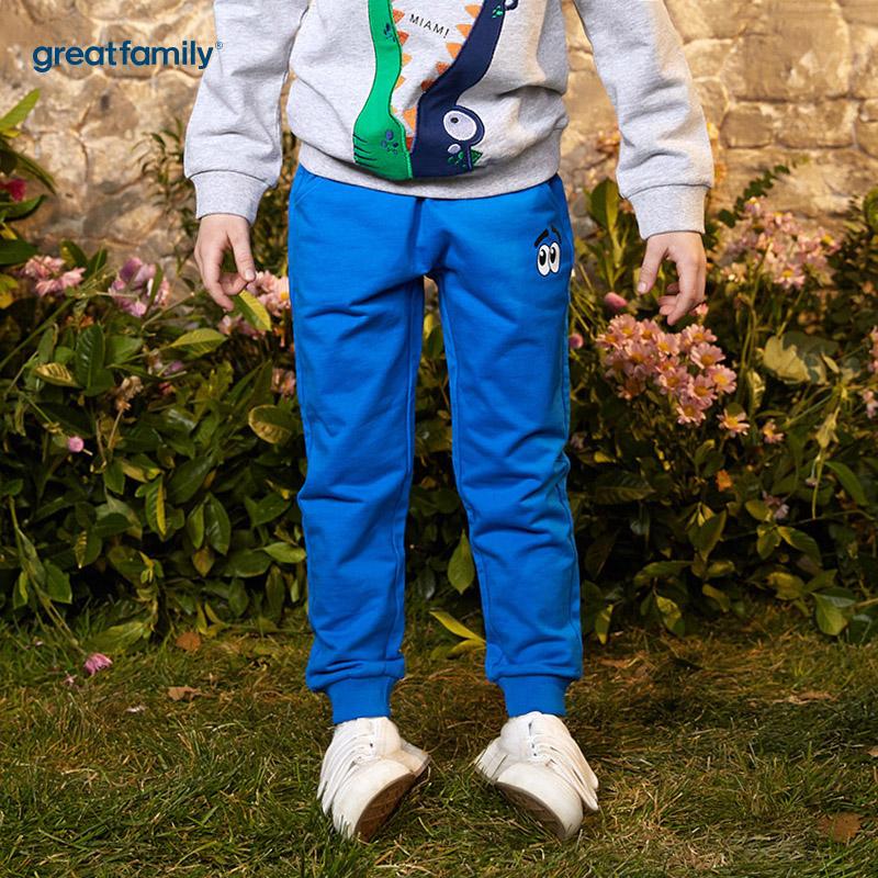 歌瑞家(网站特供)A类卫裤Classic系列蓝色男童针织长裤