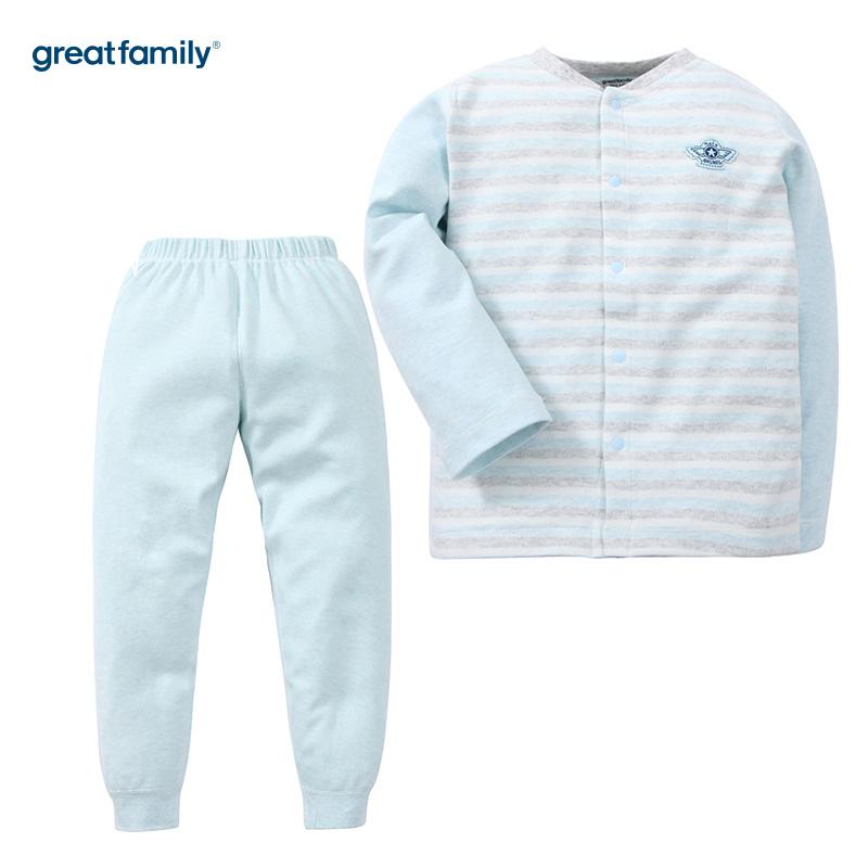 歌瑞家(Greatfamily)A类男童混色舒绒对襟套装/家居套装