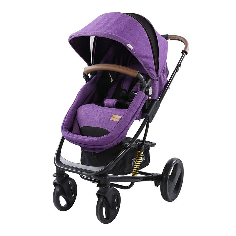 Pouch婴儿高景观可坐可躺双向推车可折叠P35紫色