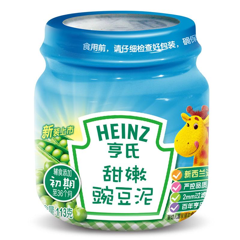 亨氏Heinz甜嫩豌豆泥113g4个月以上原料全球选材添加膳食纤维豆类蛋白
