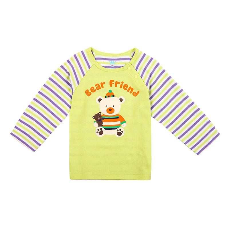 歌瑞贝儿A类男女宝宝绿色双面布插肩袖卡通T恤