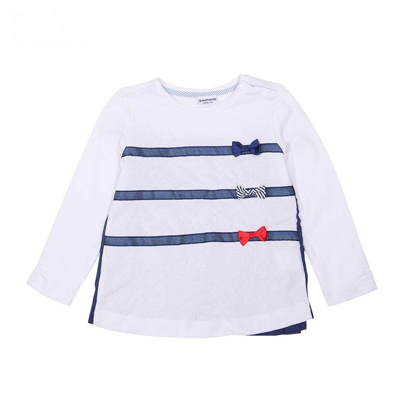 歌瑞家A类女童白色圆领长袖T恤