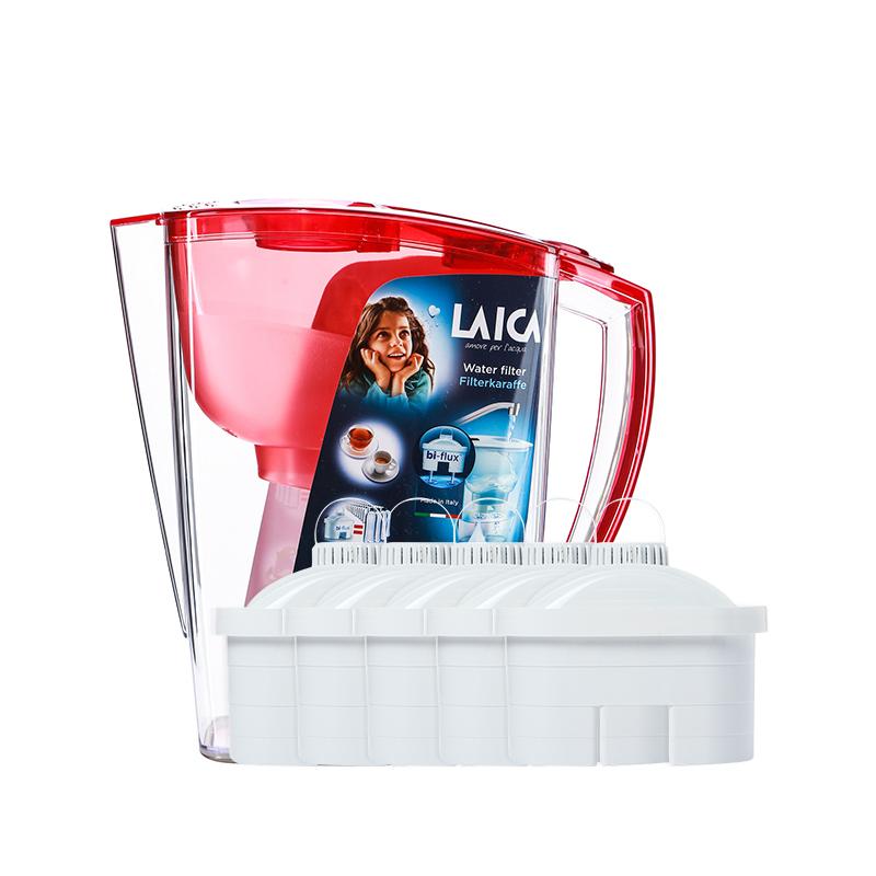 LAICA 莱卡 意大利品牌 滤水壶 JA24  红色 3.0升  一壶五芯
