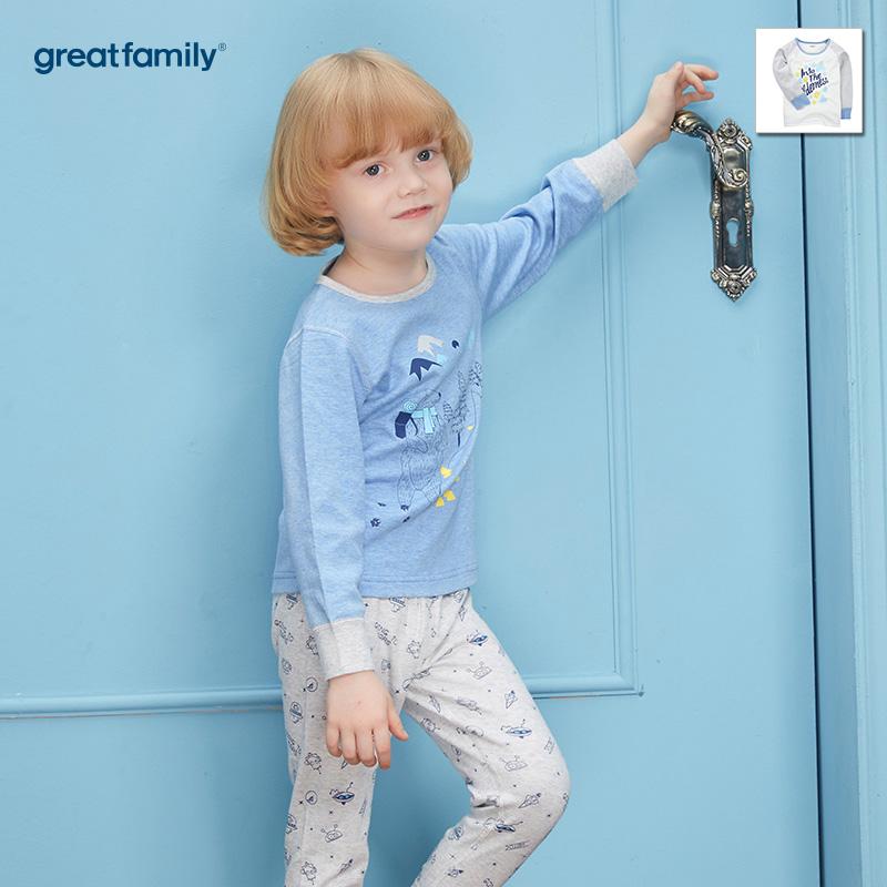 歌瑞家(Greatfamily)A类男童蓝色花纱印花圆领长袖内衣/家居服