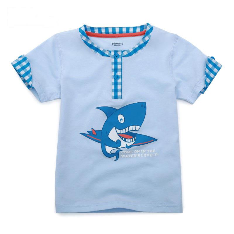 歌瑞家夏季A类纯棉男童浅蓝色圆领针织T恤