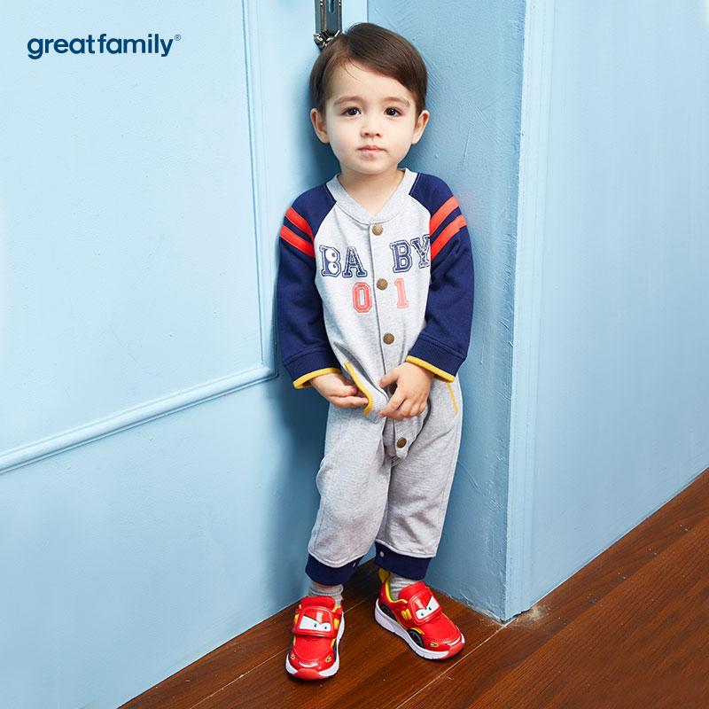 歌瑞家(Greatfamily)A类男宝宝灰色纯棉连身衣