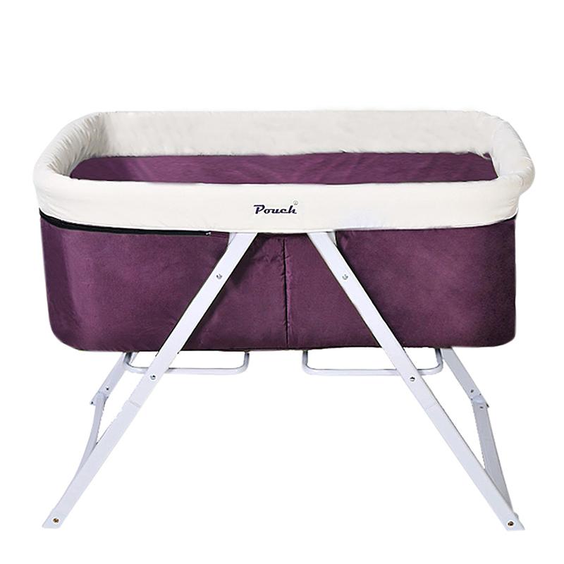 Pouch便携可折叠宝宝床BB床全布款H19紫色