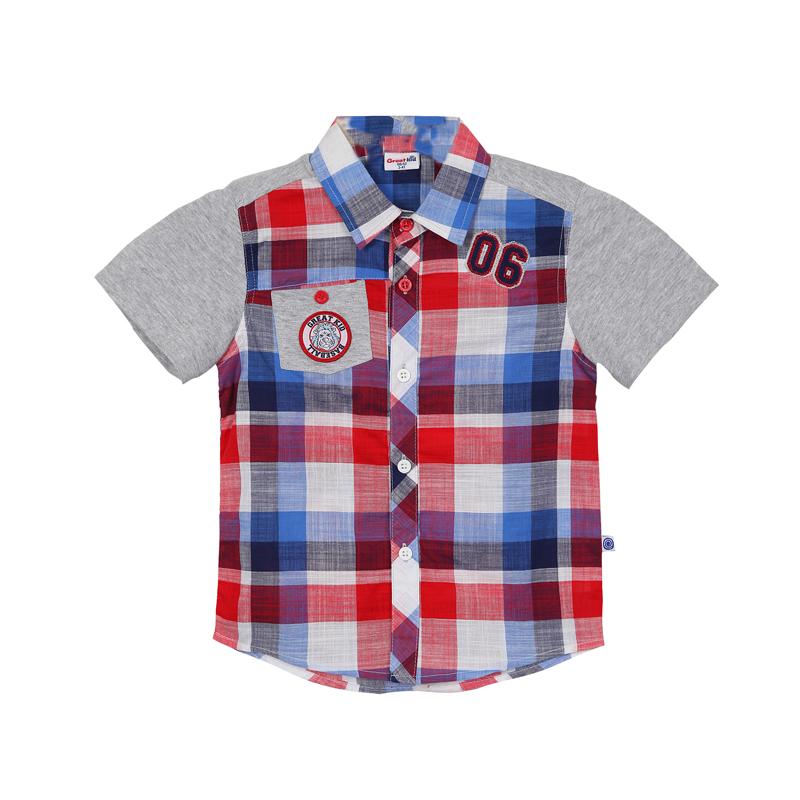 歌瑞凯儿A类男童格子梭织格子衬衫