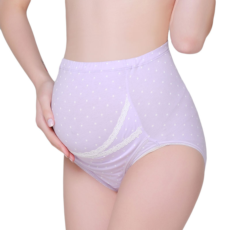 歌瑞家greatfamily紫色印点高腰托腹底裤紫色