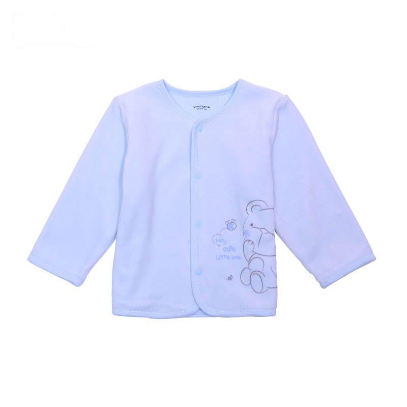歌瑞家A类男宝宝蓝色天鹅绒对襟上衣