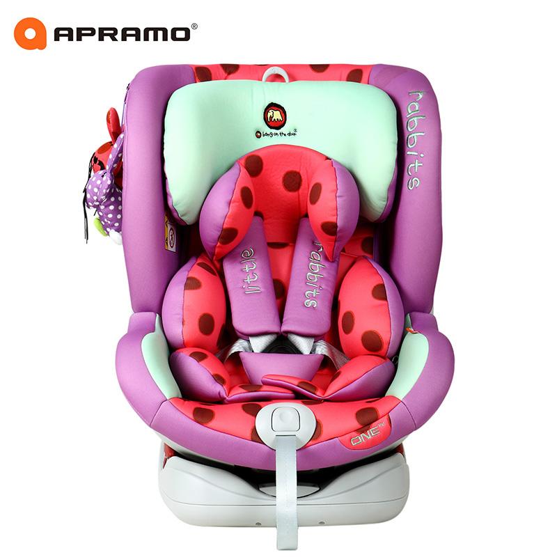 apramo安途美one汽车用儿童安全座椅0-4-6-12岁Isofix新生儿兔子