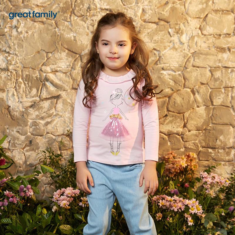 歌瑞凯儿(新)A类可爱精灵粉色女童长袖T恤