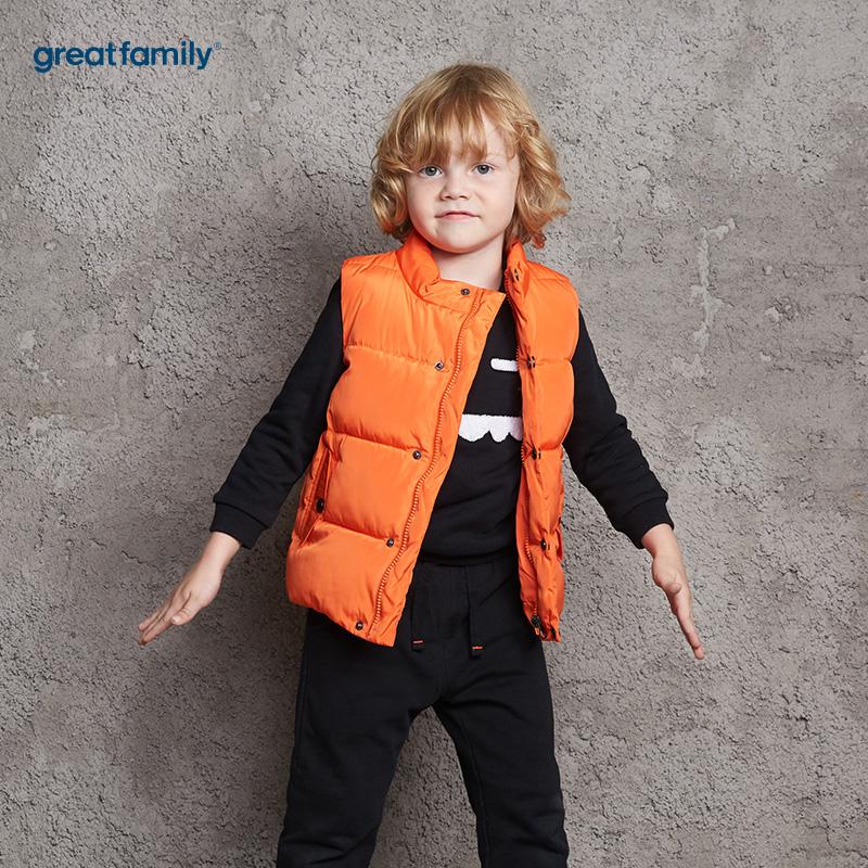 歌瑞家(Greatfamily)A类男童橙色立领棉马甲