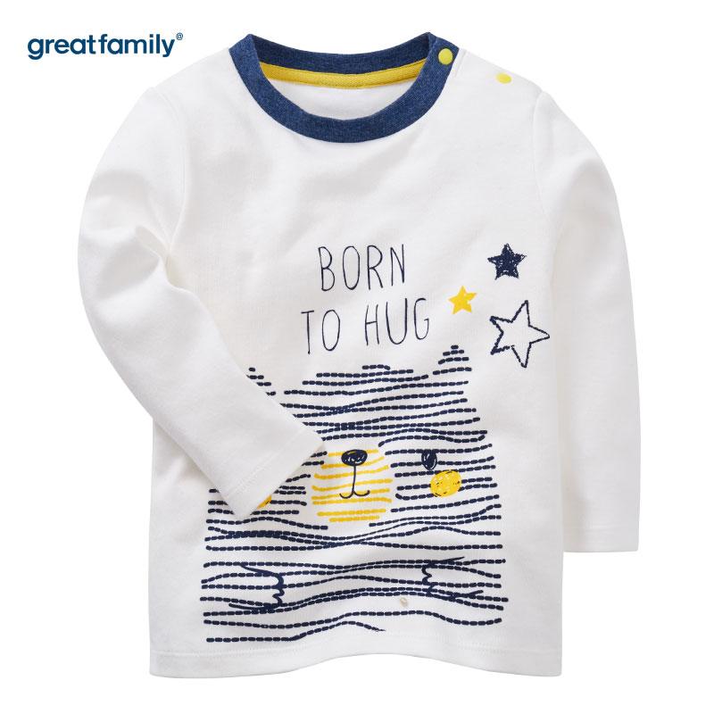 歌瑞家(Greatfamily)A类男宝宝纯棉白色肩开长袖上衣