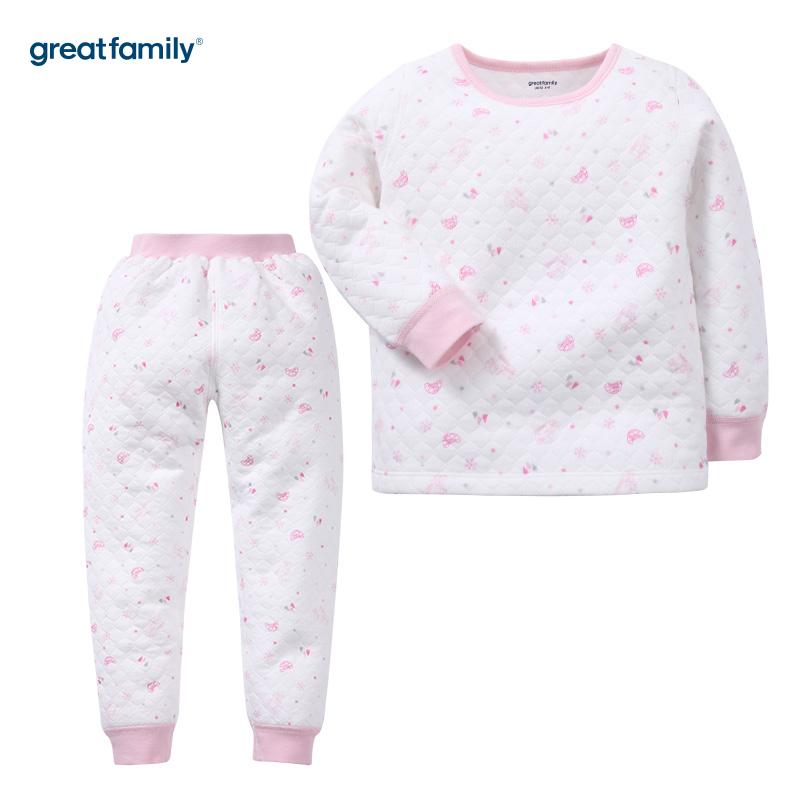 歌瑞家(Greatfamily)A类女童花色加厚三保暖圆领内衣套装/家居套装