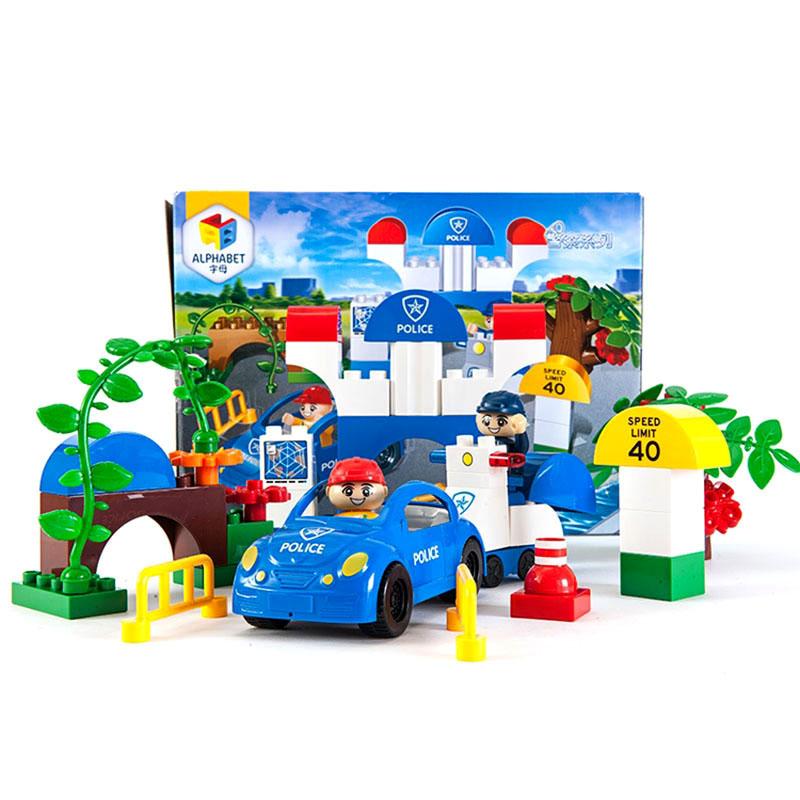 字母警察系列大块拼插积木玩具