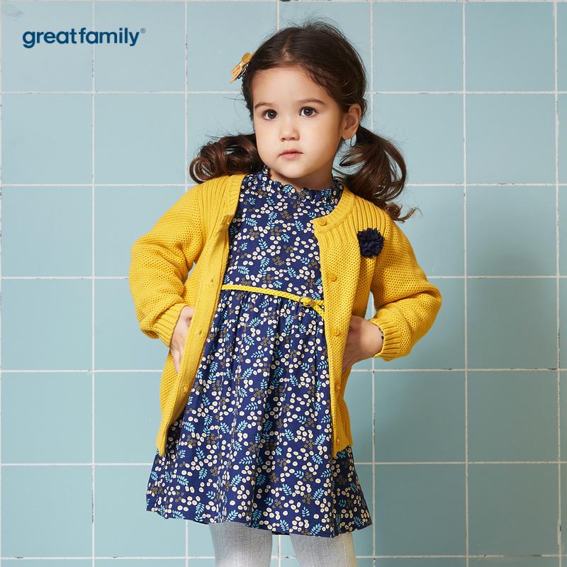 歌瑞家A类时尚宝贝黄色女线衫外套