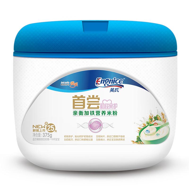 英氏Engnice首尝亲衡加铁营养米粉350g/听6月以上