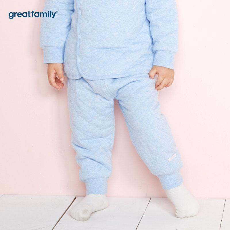 歌瑞家(Greatfamily)A类男宝宝夹棉蓝色高腰长裤