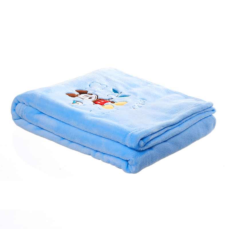 迪士尼萌萌宝贝美好风景米奇盖毯袋装95x120蓝DK80635H